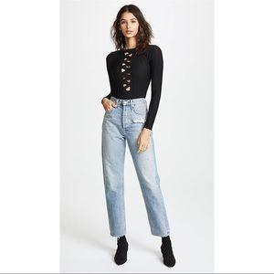 For Love & Lemons Simone Black Bodysuit Size L NWT